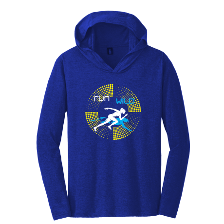 RUN WiLD HOODIE - blue and yellow print